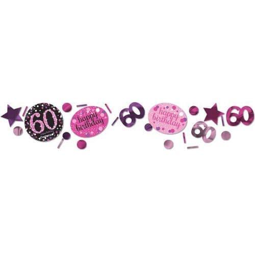 Pink Celebration 60th 3 Pack Value Confetti 34g
