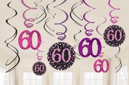Pink Celebration 60th Hanging Swirl Decorations 12 per pack.