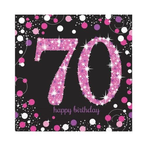 Pink Celebration 70th Luncheon Napkins 33cm 16 per pack.