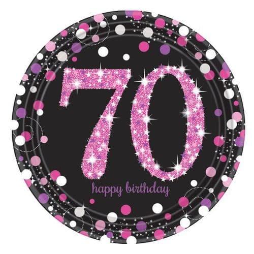 Pink Celebration 70th Prismatic Paper Plates 23cm  8 per pack.
