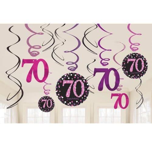Pink Celebration 70th Swirl Decorations 12 per pack.