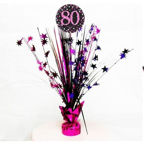 Pink Celebration 80th Centrepiece Spray 45cm