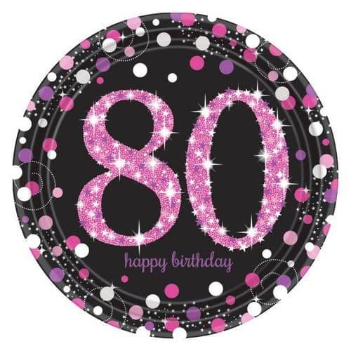 Pink Celebration 80th Prismatic Paper Plates 23cm  8 per pack.