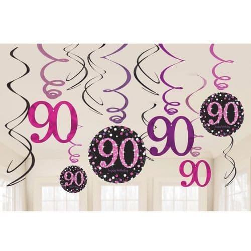 Pink Celebration 90th Swirl Decorations 12 per pack.