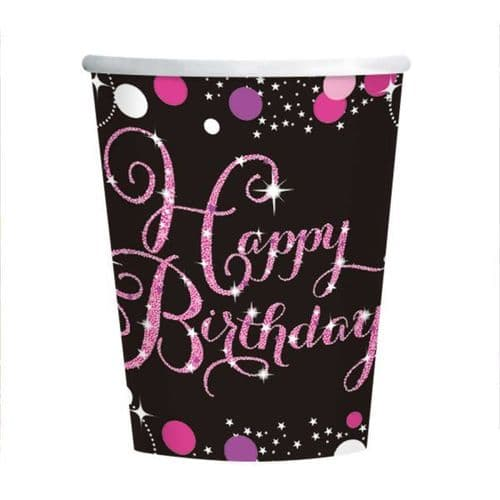 Pink Celebration Happy Birthday Paper Cup 266ml 8 per pack.