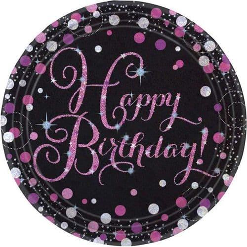 Pink Celebration Happy Birthday Prismatic Paper Plates 23cm 8 per pack.