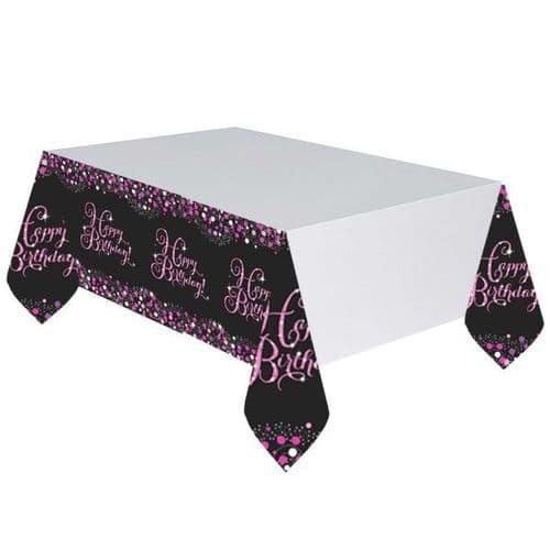 Pink Celebration Plastic Tablecloth 1.37m x 2.59m