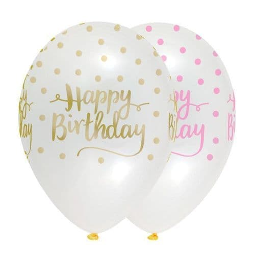 """Pink Chic Happy Birthday 12"""" Latex Balloons Crystal Clear All Round Print 6 per pack"""