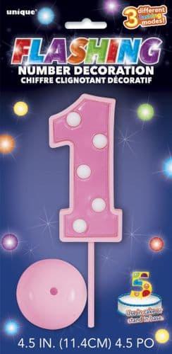 Pink Flashing Number 1 Decoration