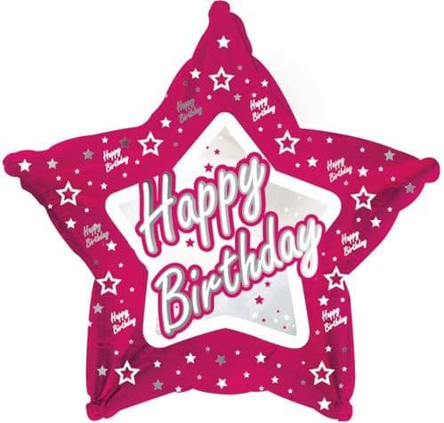 Pink Stars Happy Birthday Foil Balloon