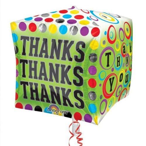 Polka-Dotty Thanks Cubez Foil Balloon