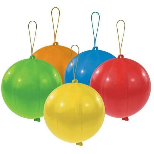 """Punch Balls Assorted Colours Latex Balloons 11"""" 5 per pack"""