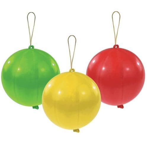 Punch Balls Assorted Colours Latex Balloons 3 per pack.