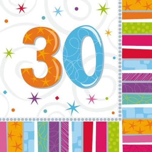 Radiant Birthday 30th Luncheon Napkins 16 per pack.