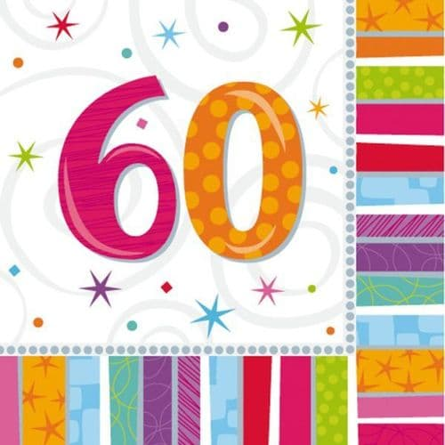 Radiant Birthday 60th Luncheon Napkins 16 per pack.