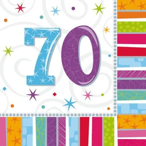 Radiant Birthday 70th Luncheon Napkins 16 per pack.