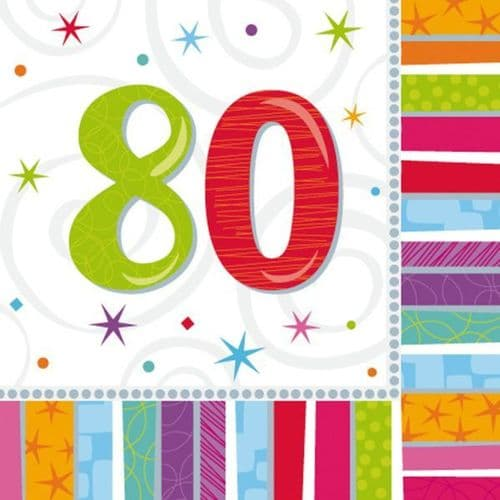 Radiant Birthday 80th Luncheon Napkins 16 per pack.
