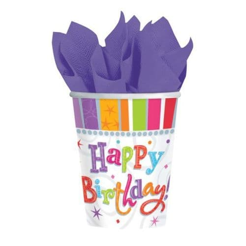 Radiant Birthday Paper Cups 266ml 8 per pack.
