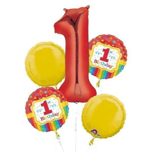 Rainbow 1st Birthday Bouquet Foil Balloon