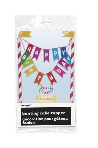 Rainbow Happy Birthday Bunting Cake Topper