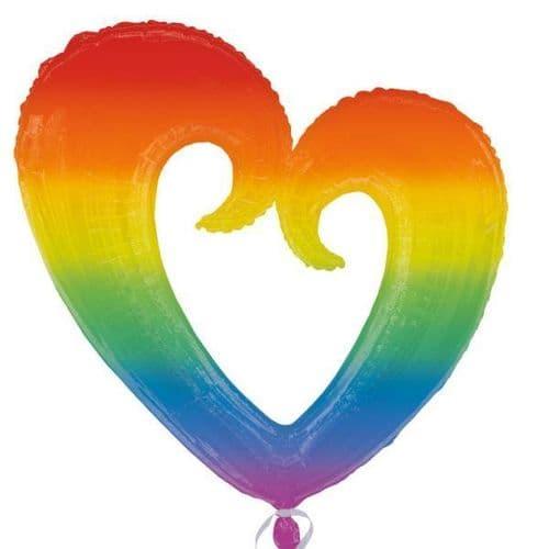 """Rainbow Open Heart - SuperShape Foil Balloon 32"""" x 32"""""""