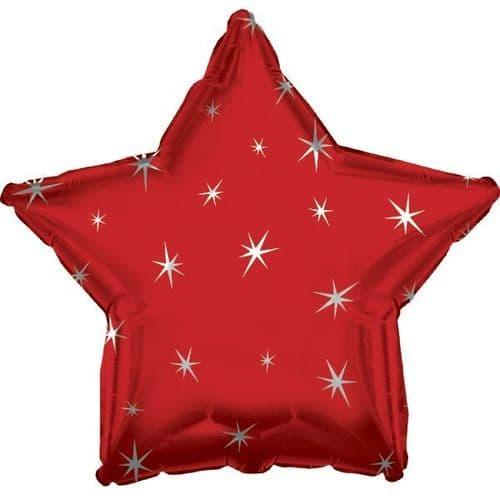 Red Sparkle Star Foil Balloon