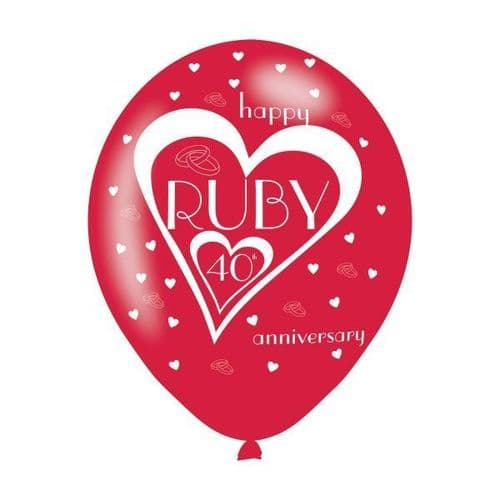"""Ruby 40th Anniversary Latex Balloons 11"""" packet of 6"""