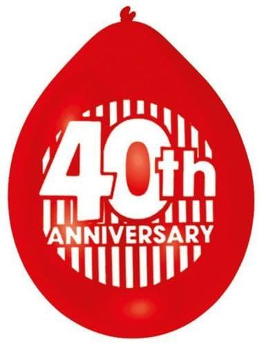 Ruby 40th Anniversary Latex Balloons