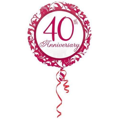 Ruby Elegant Scroll 40th Foil Balloon Standard