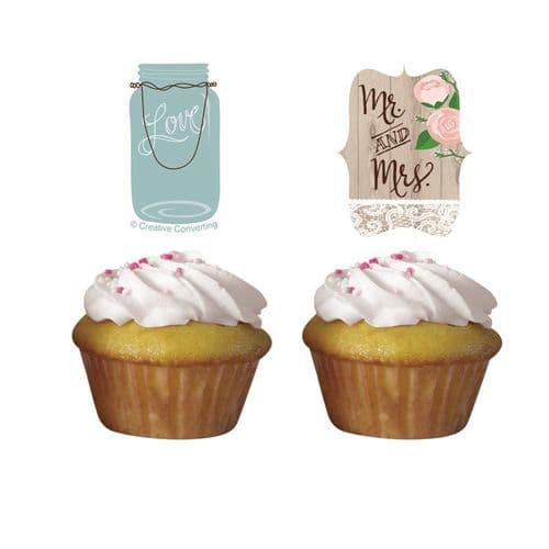 Rustic Wedding Cupcake Toppers