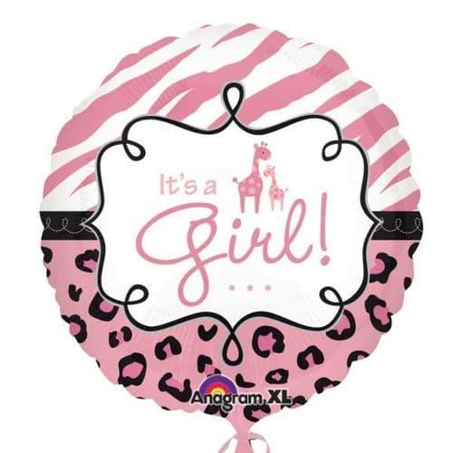 """Safari Baby Girl Foil Balloon  18"""""""
