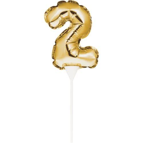 Self-Seal Mini Balloon Cake Topper 2 Gold Self-Inflating Technology