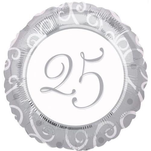 Silver 25th Anniversary Standard Foil Balloon