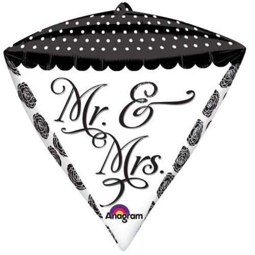 "Sophisticated Mr. & Mrs. Diamondz Foil Balloons 15"" x 17"""