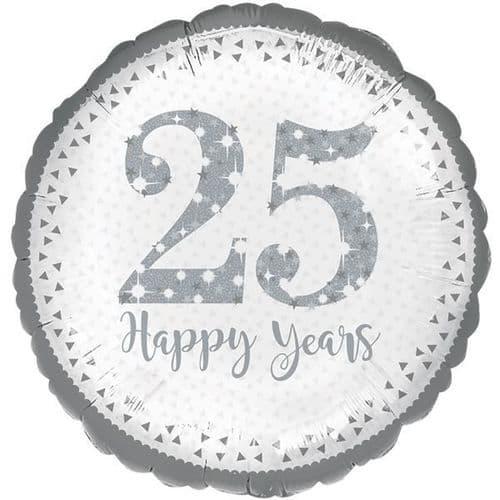 Sparkling 25th Silver Anniversary Standard Foil Balloon