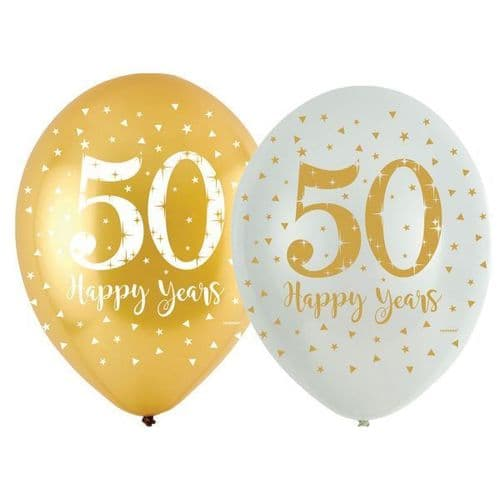 """Sparkling Golden Anniversary 4 Sided Latex Balloons 11"""" x 6"""