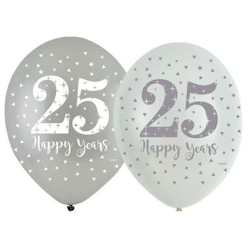 """Sparkling Silver Anniversary 4 Sided Latex Balloons 11"""""""