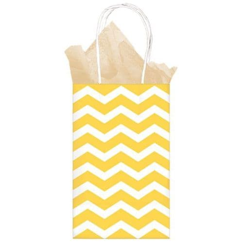 Sunshine Yellow Chevron Paper Gift Bags 21cm x 13cm x 9cm