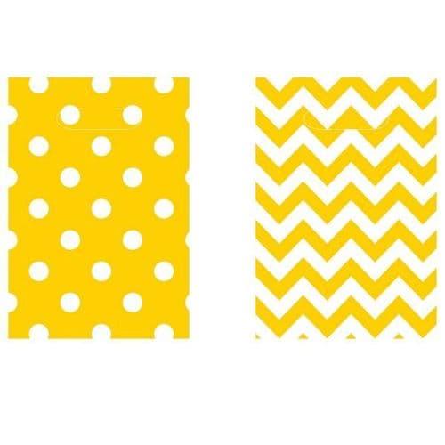 Sunshine Yellow Dots & Chevron Loot Bags 8 per pack.