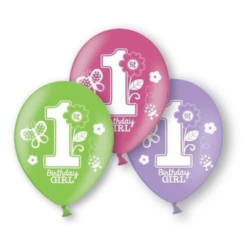"Sweet Girl 1st Birthday Latex Balloons Packet of 6 x 11"""
