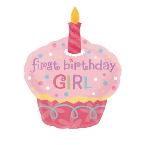 """Sweet Little Cupcake Girl SuperShape XL Foil Balloon   29"""" x 36"""""""