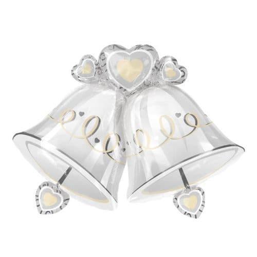 """Wedding Bells SuperShape Foil Balloon 35"""" x 26"""""""