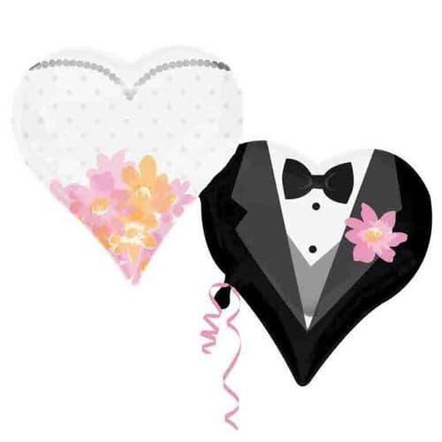 "Wedding Couple Hearts SuperShape Foil Balloon 30"" x 25"""