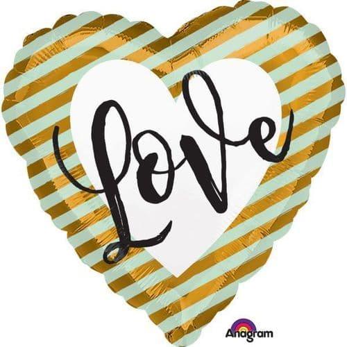 Wedding Love Stripes Standard Foil Balloon