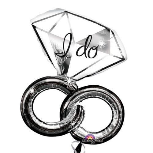 "Wedding Rings SuperShape Foil Balloon 27"" x 30"""