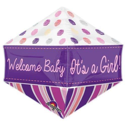 "Welcome Baby Girl Anglez Foil Balloon 15"" x 15"""