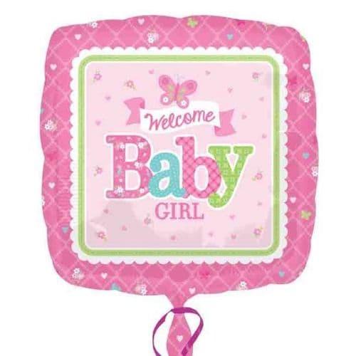Welcome Baby Girl Butterrfly  Standard Foil Balloon