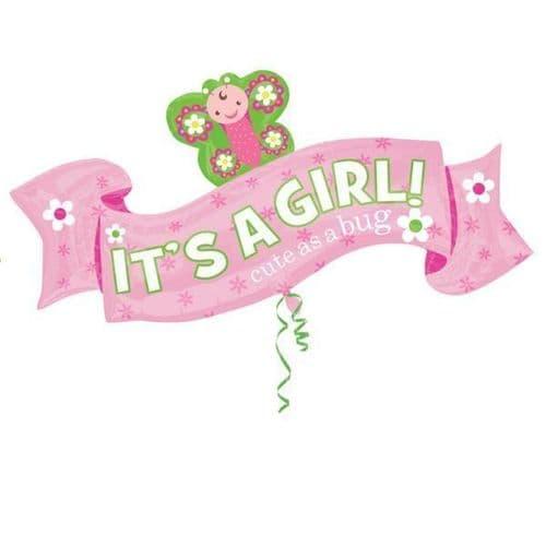 "Welcome Little Girl SuperShape Foil Balloon 40"" x 22"""