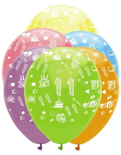"""Age 11 Bright Mix Latex Balloons All Round Print 6 x 12"""" per pack"""