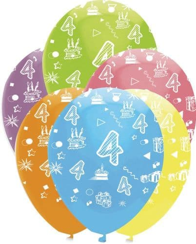 """Age 4 Bright Mix Latex Balloons All Round Print 50 x 12"""" per pack"""
